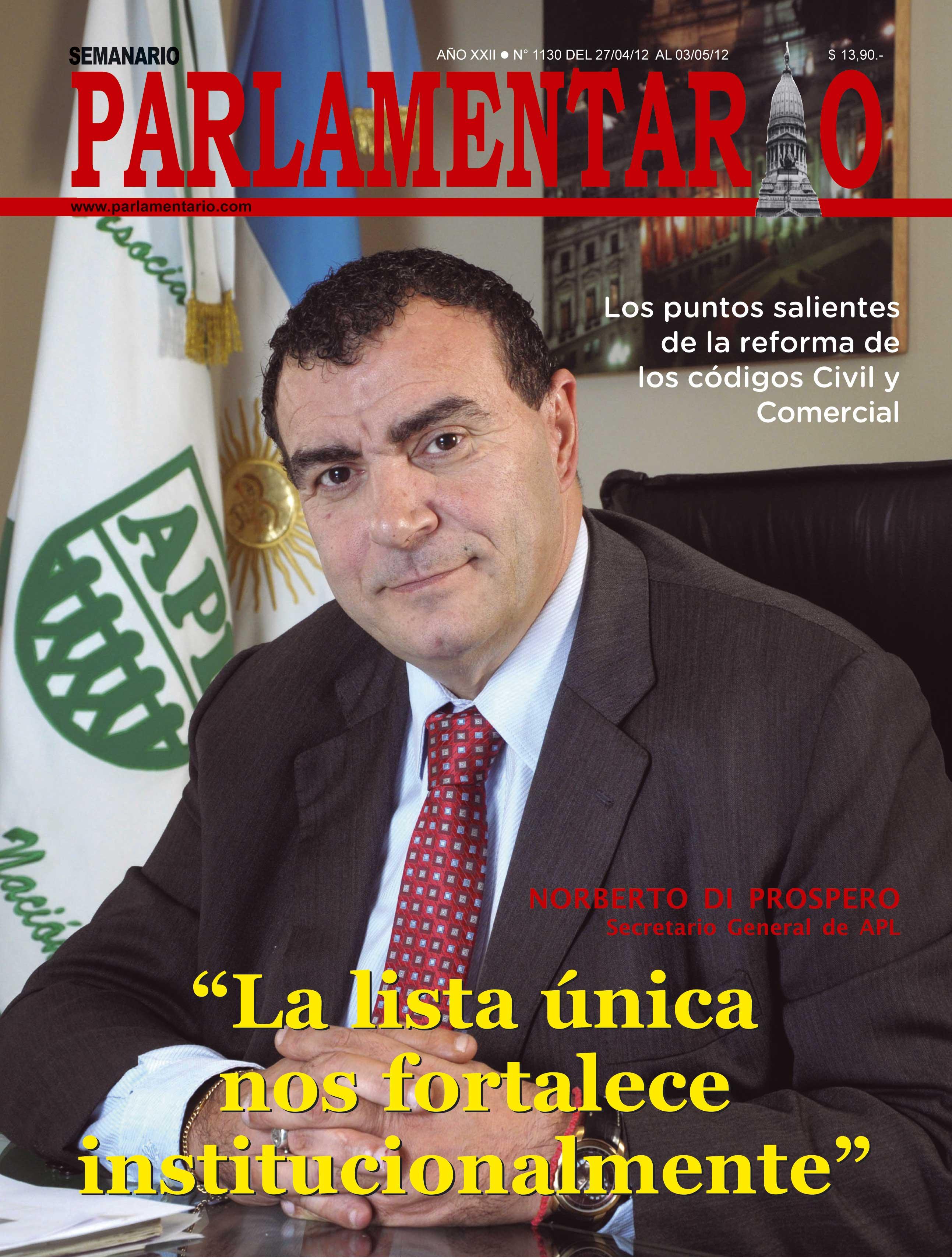Semanario Parlamentario entrevistó a Norberto Di Próspero.