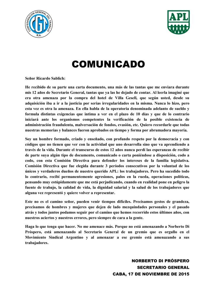 COMUNICADO ndp