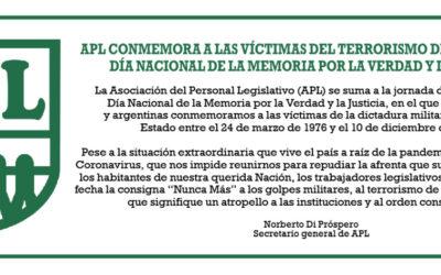 APL conmemora a las Víctimas del Terrorismo de Estado en el Día Nacional de la Memoria por la Verdad y la Justicia.